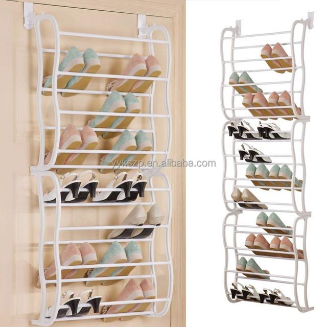 plastic iron tubes 36pairs over the door shoe display rack
