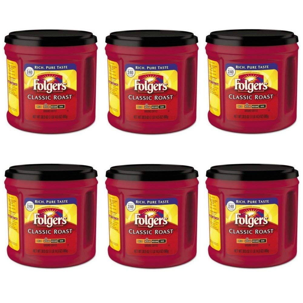Folgers Classic Roast Ground Coffee, Medium Roast, 30.5 Ounce (6 pack)