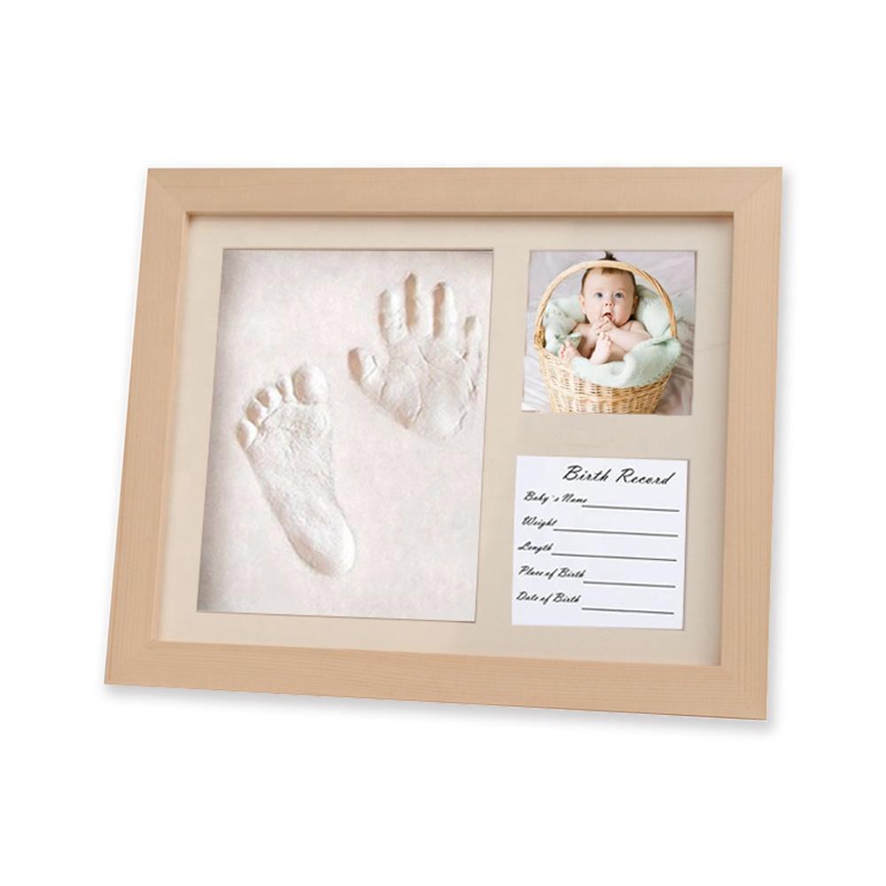 3D Shadow Box Wood Keepsake Photo Frame Baby Footprint Kit