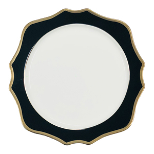 JY Ceramics black and jk gold luxury dinner plate royal charger plate for party events rental