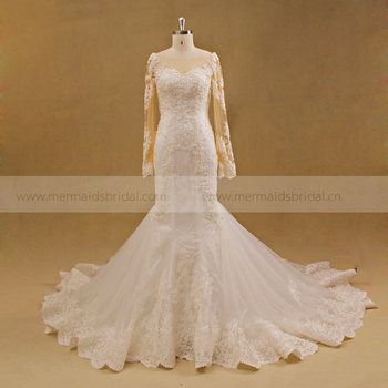 Ed Wedding Gown Bridal Boat Neck Long Sleeve Dress