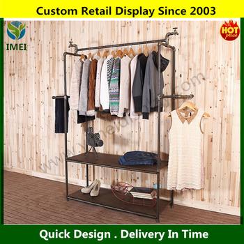 hook metal clothes rack 2 layers metal retail clothing display rack best selling ym07369