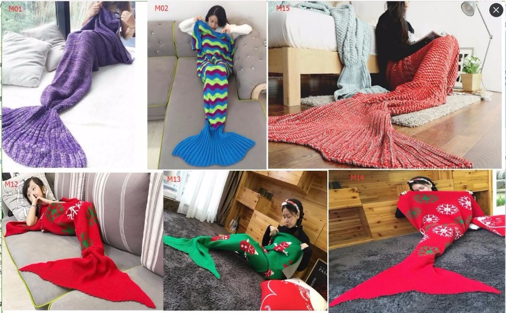 2017 Colorful Large Rainbow Mermaid Shape Blankets Fashion Adult Size Warm Crochet Blankets