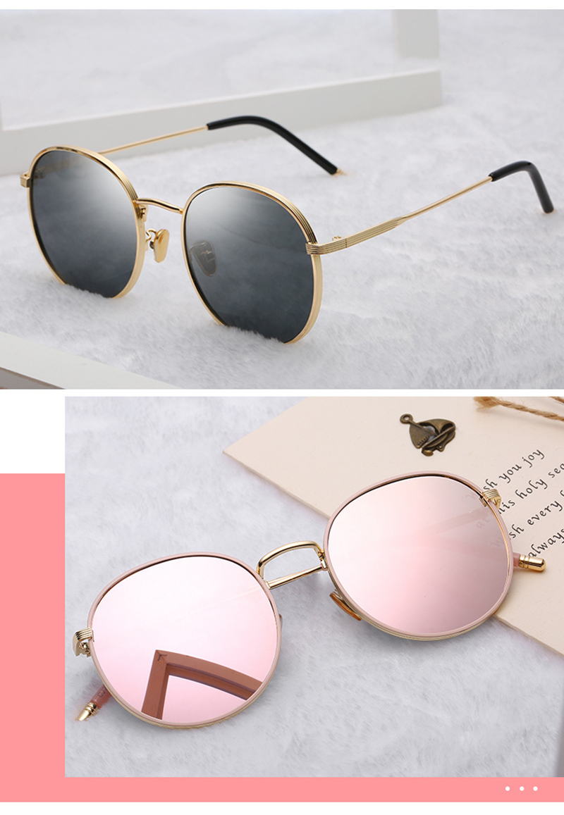 Fashion Metal Frame Round Gafas De Sol Women Men OEM Polarized Sunglasses