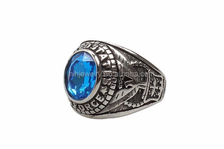 25524f721c4 Conception personnalisée en acier inoxydable mens noir pierre bague antique air  force militaire anneau