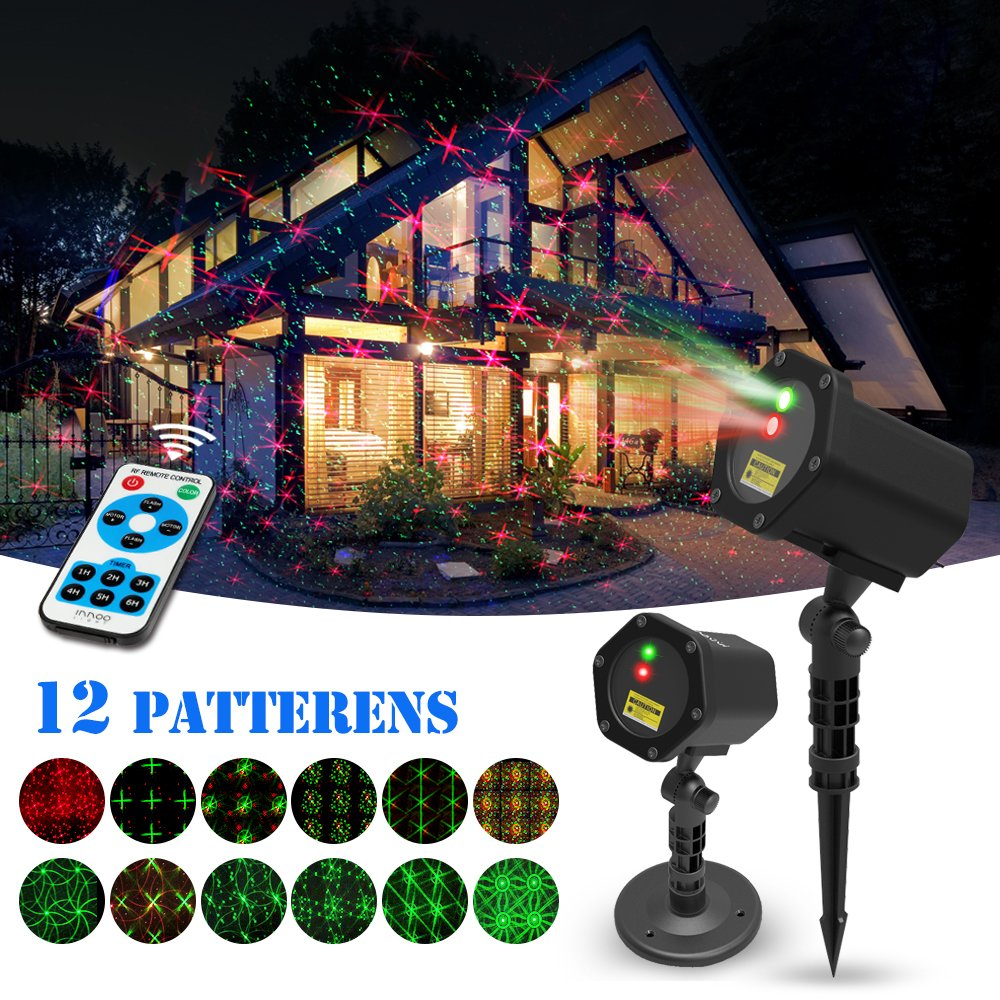 Christmas Laser Lights, innooLight Christmas Star Shower Laser Lights, 12 in 1 Patterns, Waterproof Red and Green Stars Light with Timer Preset & RF Wireless Remote for Party & Holiday