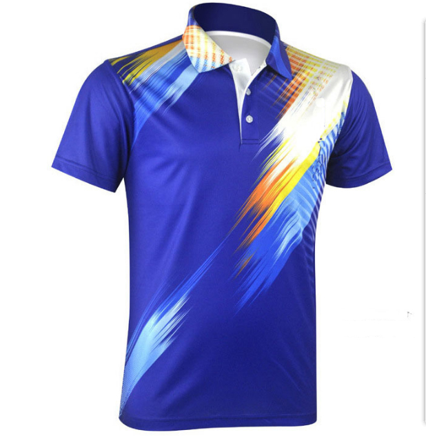 428bf6d82 Men's Custom sublimated Lapel collar badminton Jersey with short sleeve