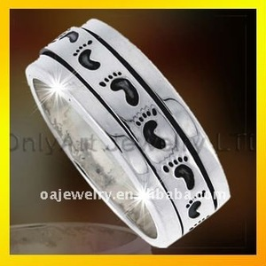 925 silver student ring with fashion design jewelry baby foot silver ring