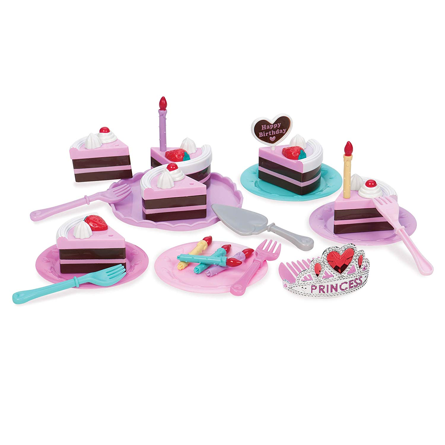 Play Circle by Battat – Princess Birthday Party – 24-Piece Pretend Play Birthday Cake with Candles, Dishes, and Princess Tiara – Play Food Sets for Toddlers Age 3 Years and Up