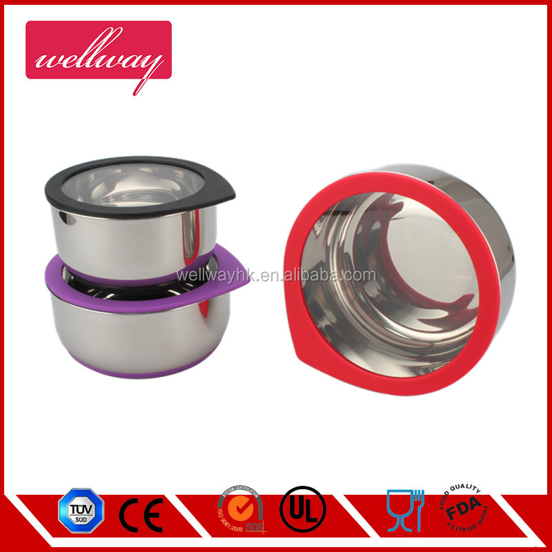 Lunch Boxes Stainless Steel Mixing Bowl with Silicone Glass Lid, Non-skid Silicone Base