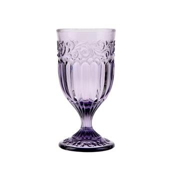 Coloured wedding wine glasses pink violet amber blue drinking glass