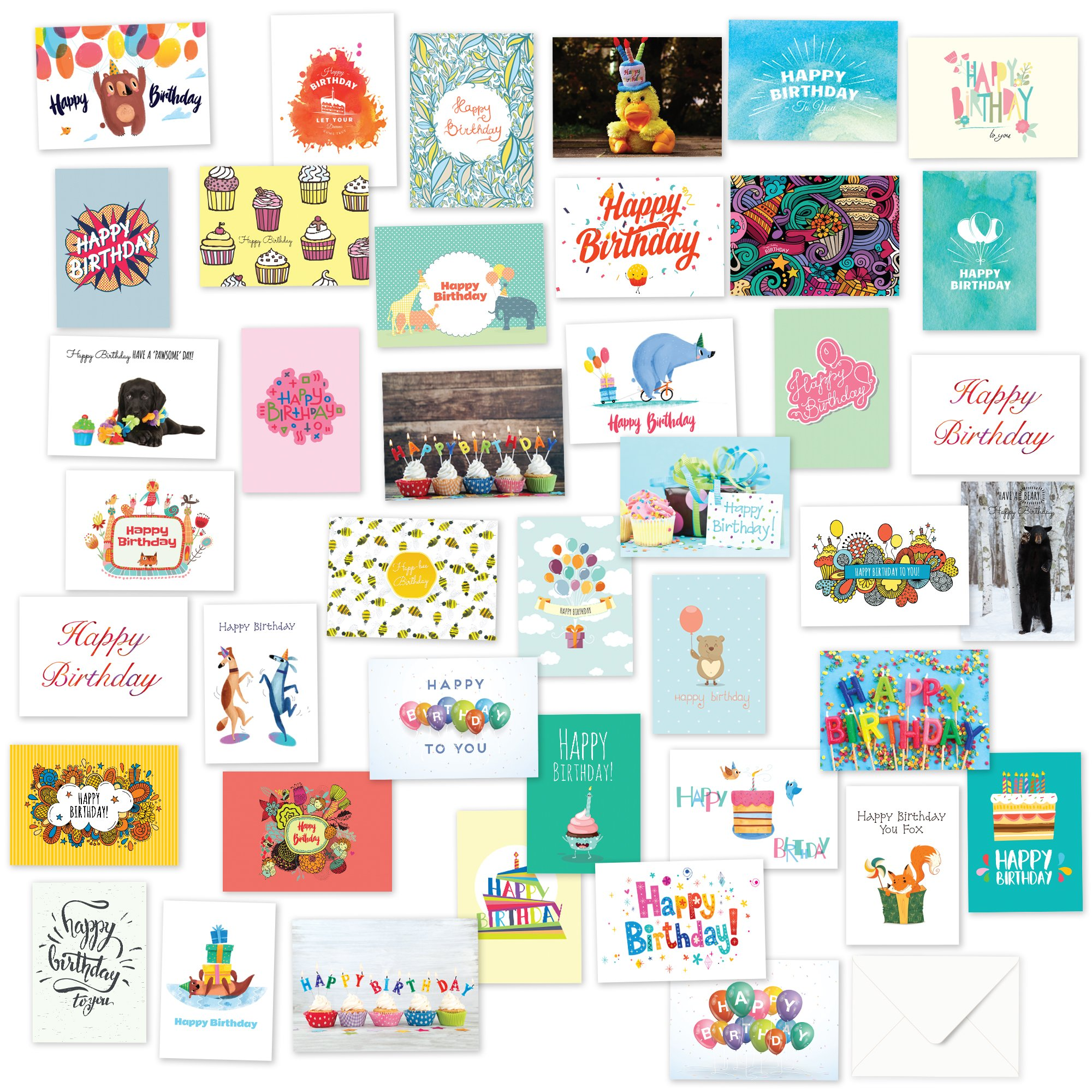 Buy 40 Birthday Cards Assortment AcircEUR Happy Card Bulk Box Sets For Women And Men Children Adults