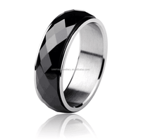 Men's black ceramic band comfort fit ring raised diamond cutting center SSCR-028B