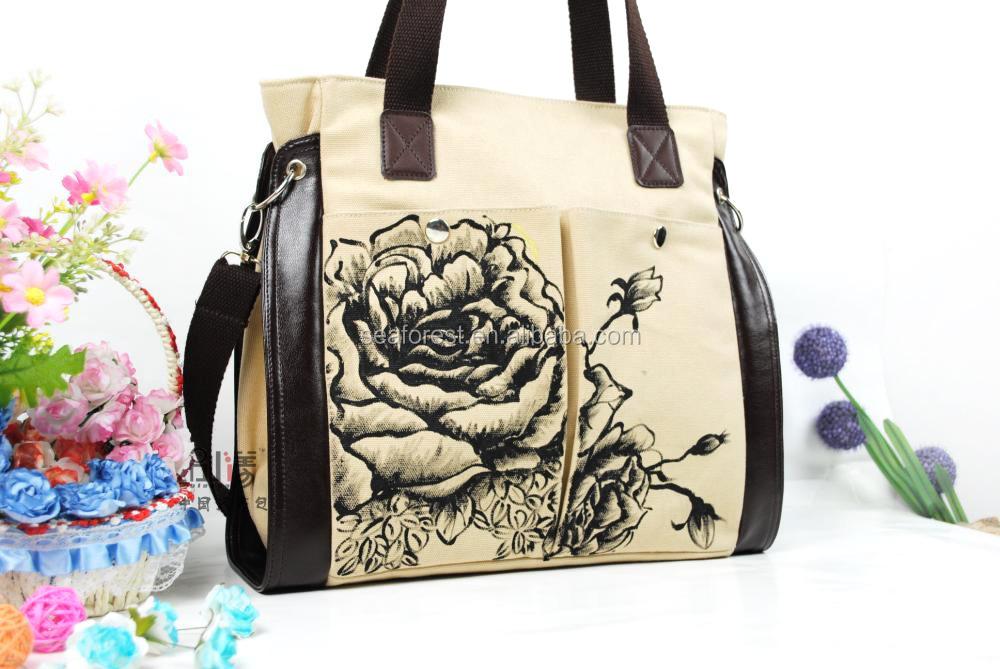Cotton Canvas Tote Bag Long Handle,Casual Shoulder Long Strap Bag ...