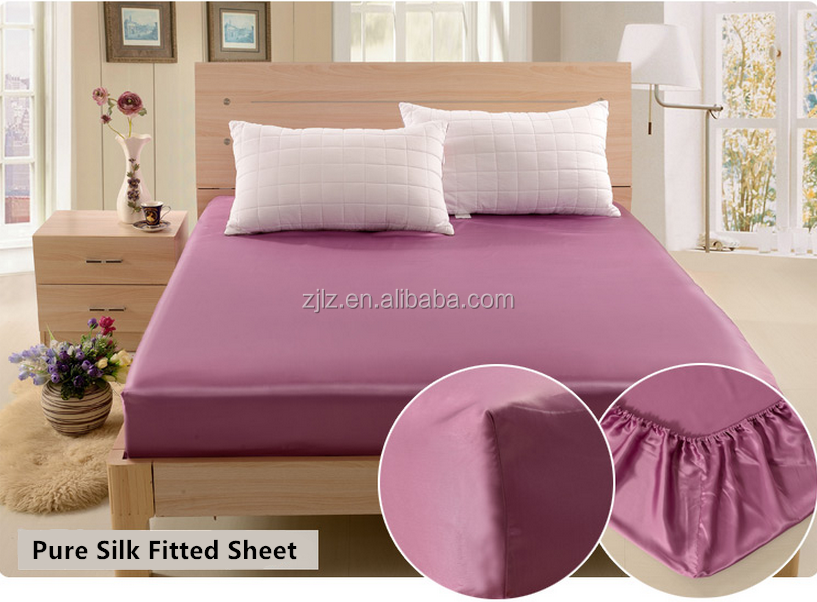 22mm Pure Silk Fitted Sheet/Bedspread/Bed sheet Factory Supplier