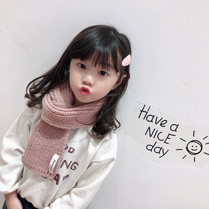 Fashion Cute Kids Girl Winter Scarf Solid Color Knitted Scarf For Kids
