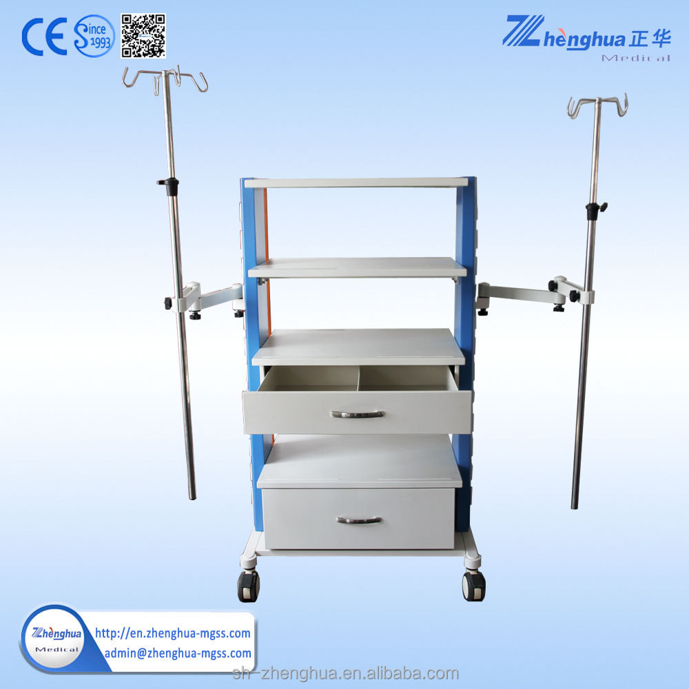 stainless steel Laboratory Trolley equipped trolley with IV polar
