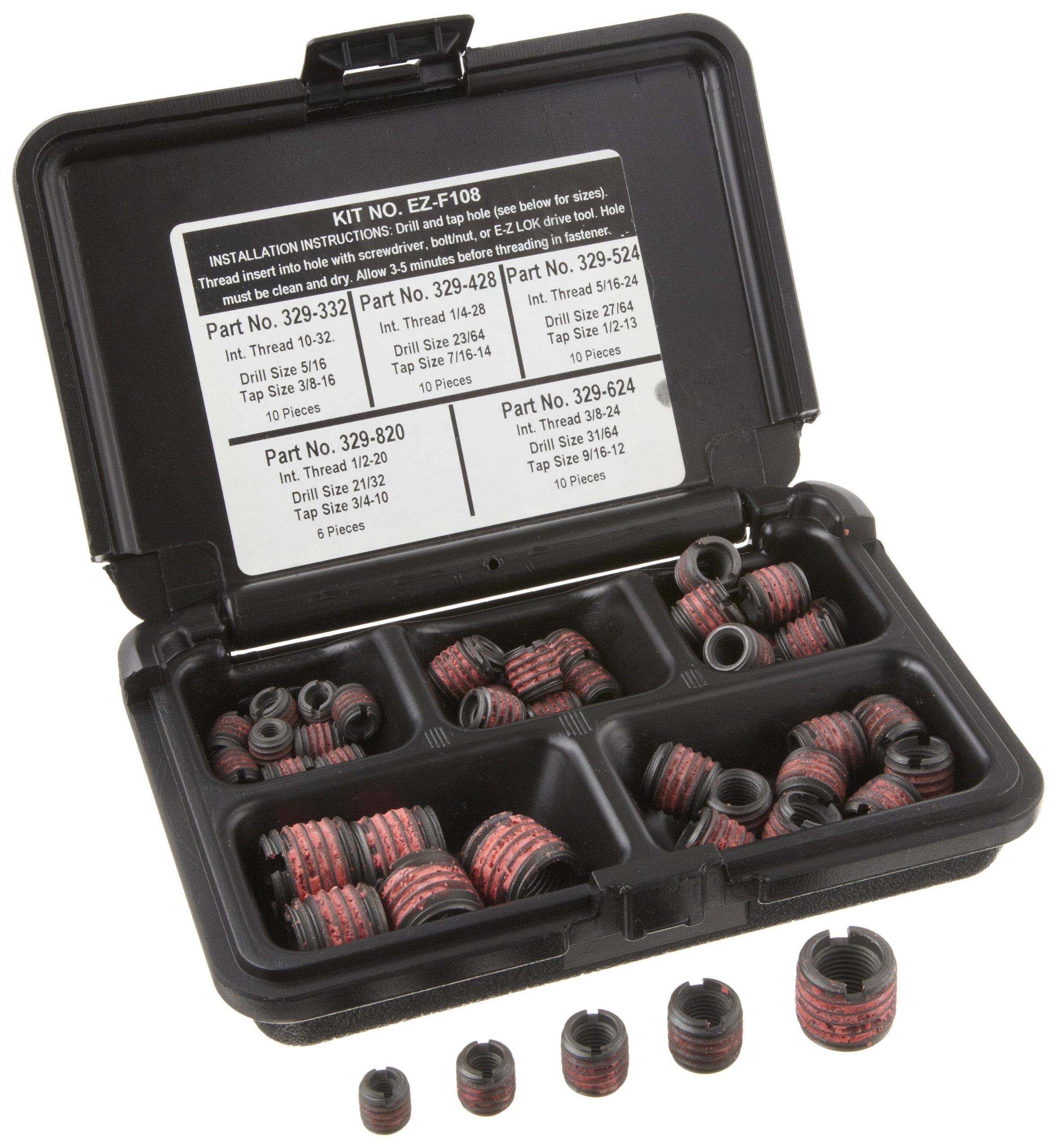 3//8-24 Installation Kit Black Oxide Steel E-Z LOK EZ-310-624 Threaded Inserts for Metal