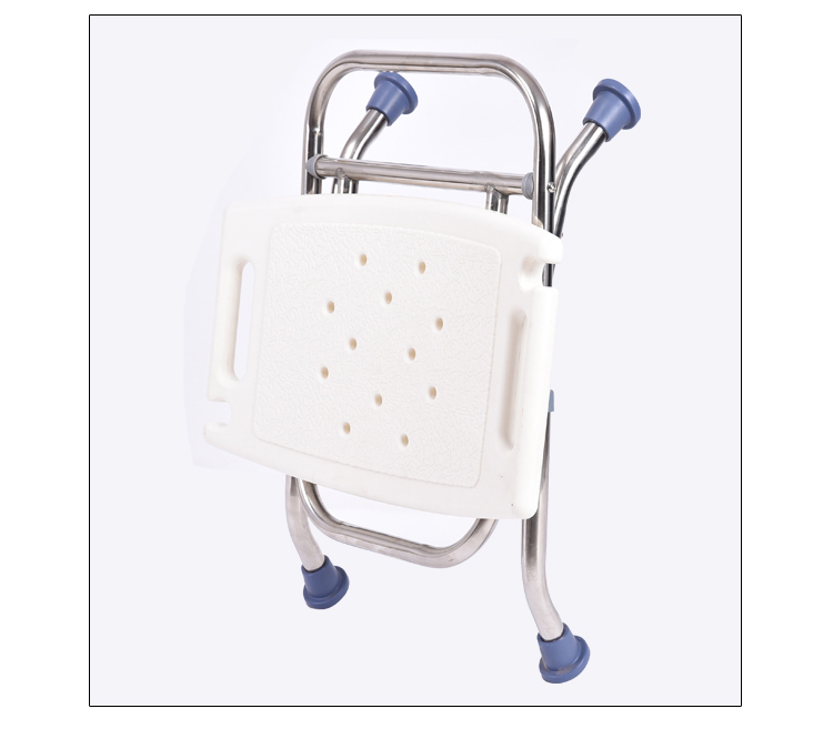 Elderly bathing chair anti-skid elderly folding belt back stainless steel shower stool pregnant woman