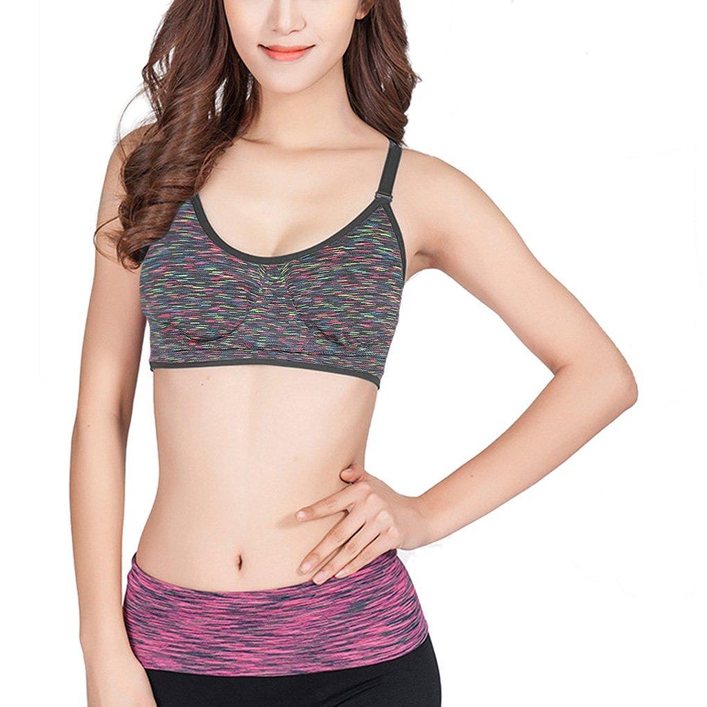 7203824c3c Get Quotations · Women s Sport Bra Removable Padding Ajustable Straps Seamless  Comfort Gym Workout Running Jogging Yoga Bra Fitness