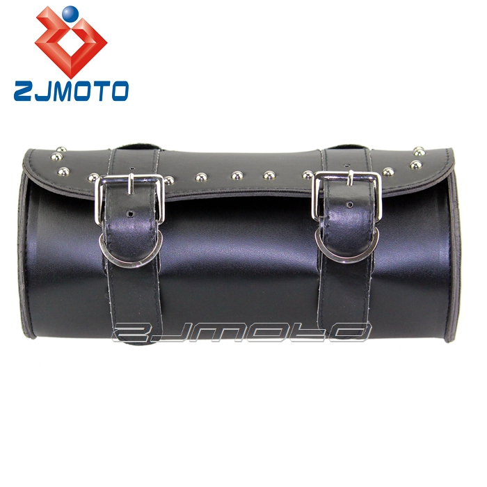 ZJMOTO Leather Motorcycle Side Bags Front Fork Tool Bag Saddle Bag Fit To Harley Custom Bobber Softail Sportster