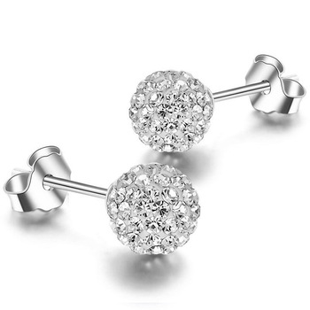 925 sterling silver earring fashion crystal ball earrings women silver stud earrings(EJ1261)
