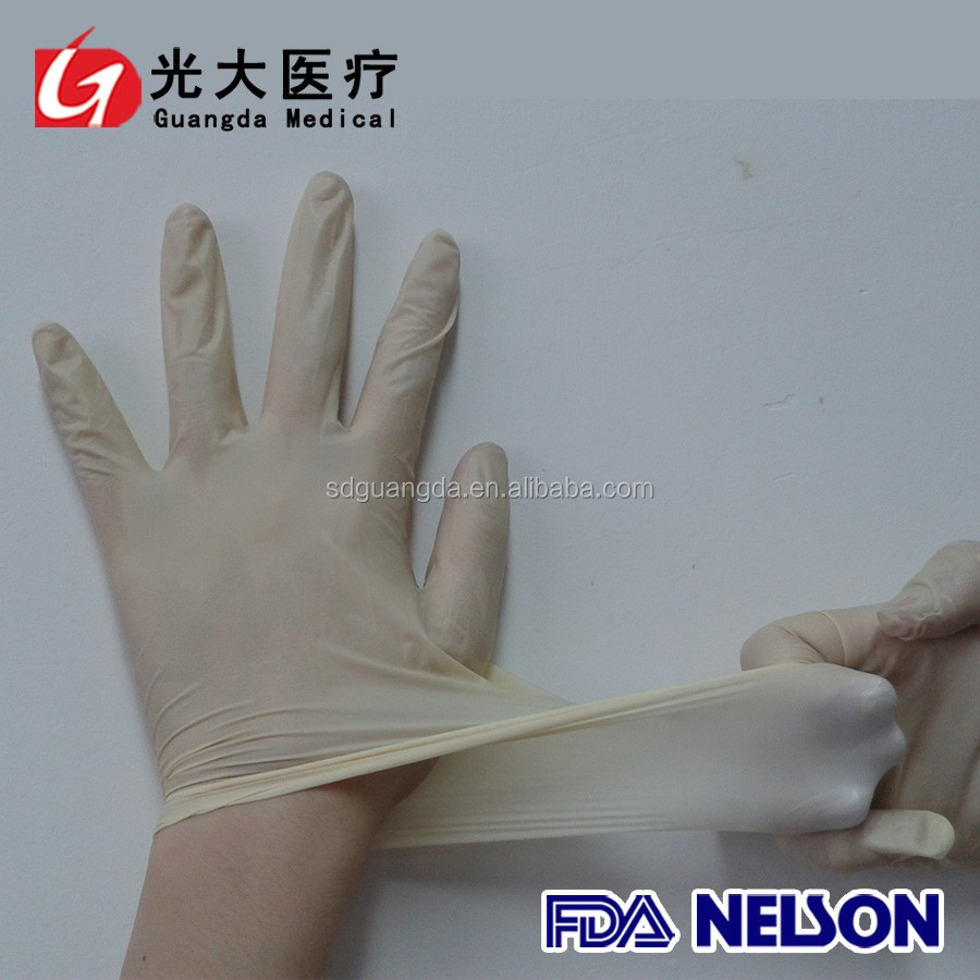 non-sterile disposable latex examination gloves