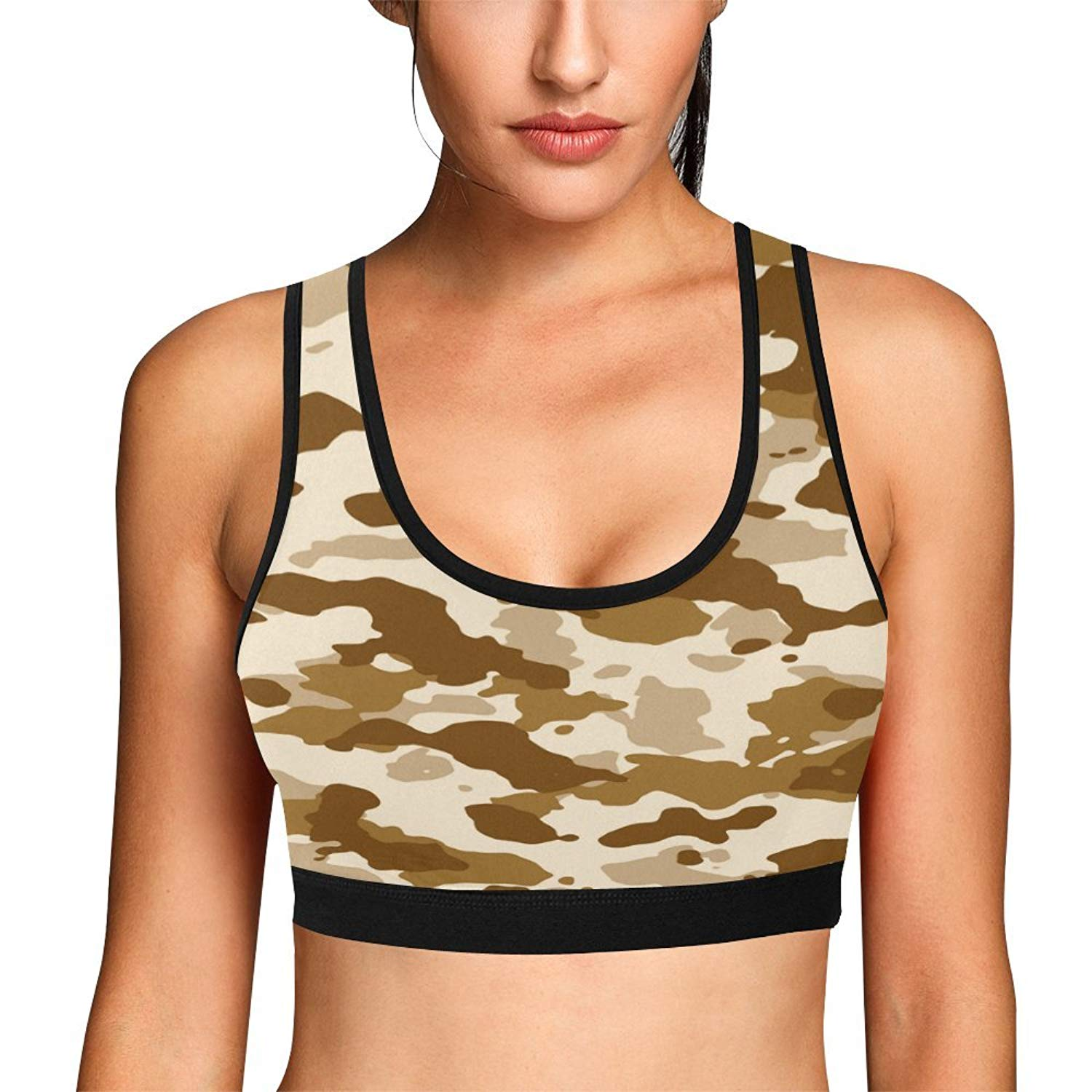4cc56d2a9bd7b Get Quotations · Military Camo Camouflage Pattern Print Women s Sports Bra  Workout Yoga Bras