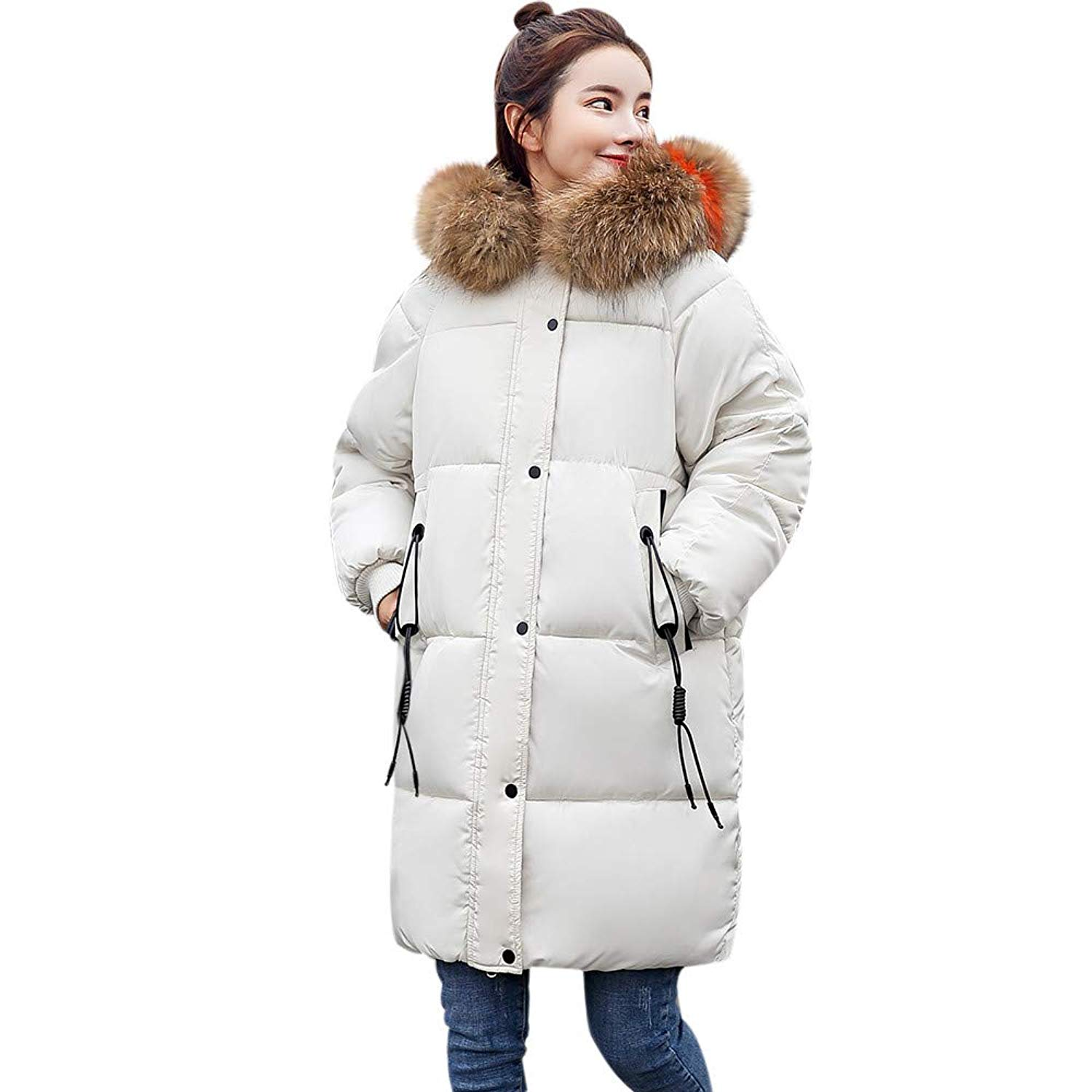 ZYooh Women Warm Thicker Winter Lammy Down Jackets Coat Slim Faux Fox Fur Hoodies Overcoat Lightweight Down Parka