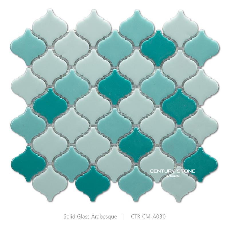 High Quality Lucido Caramelle Di Vetro Solido Arabesco Verde Mattonelle Di Mosaico