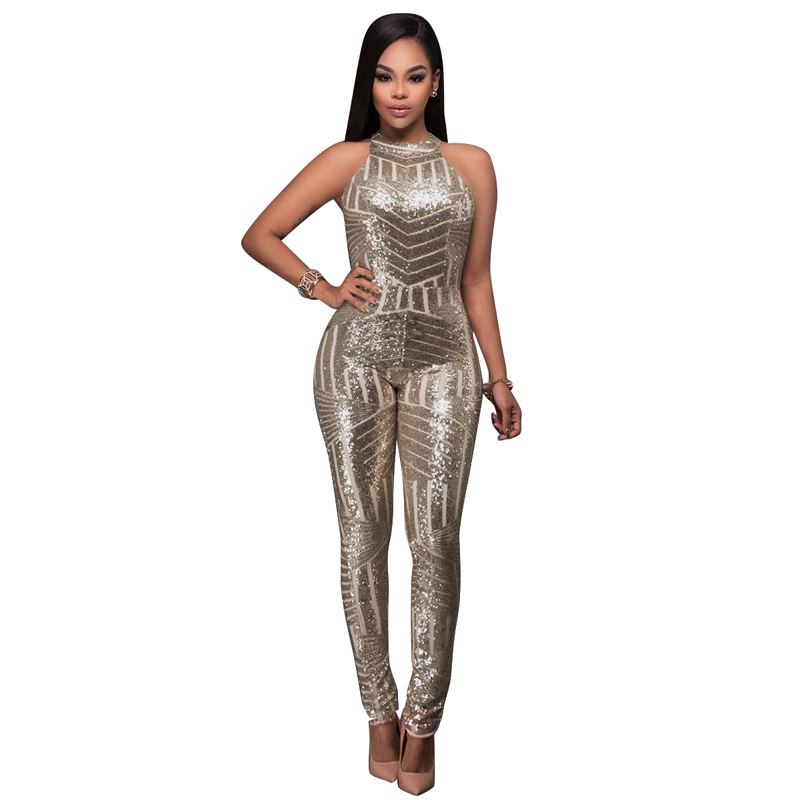 Halter Sexy Backless Sliver Sequin Glitter Jumpsuit Club Wear