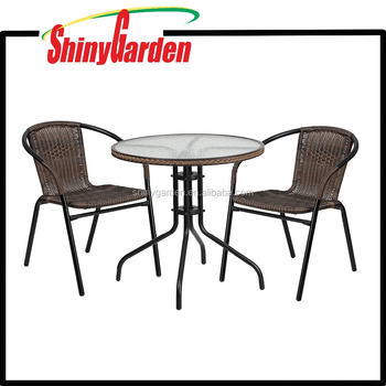 Flash Furniture Round Gl Metal Table With Rattan Edging And 2 Stacking Chairs