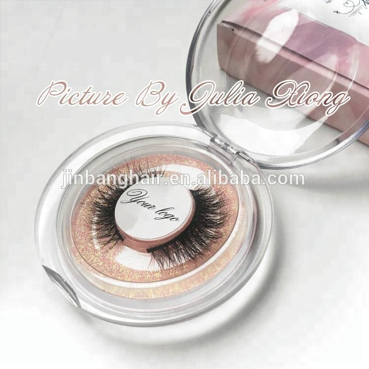 70cd1e75a0a Round plastic packaging with glitter 3D mink eyelash custom 3d mink lashes  with private label false eyelash box for make up