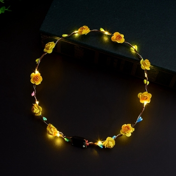Amazon hot sell led flower wreath headband flower crown luminous for girls  night party   5d1c312fb80