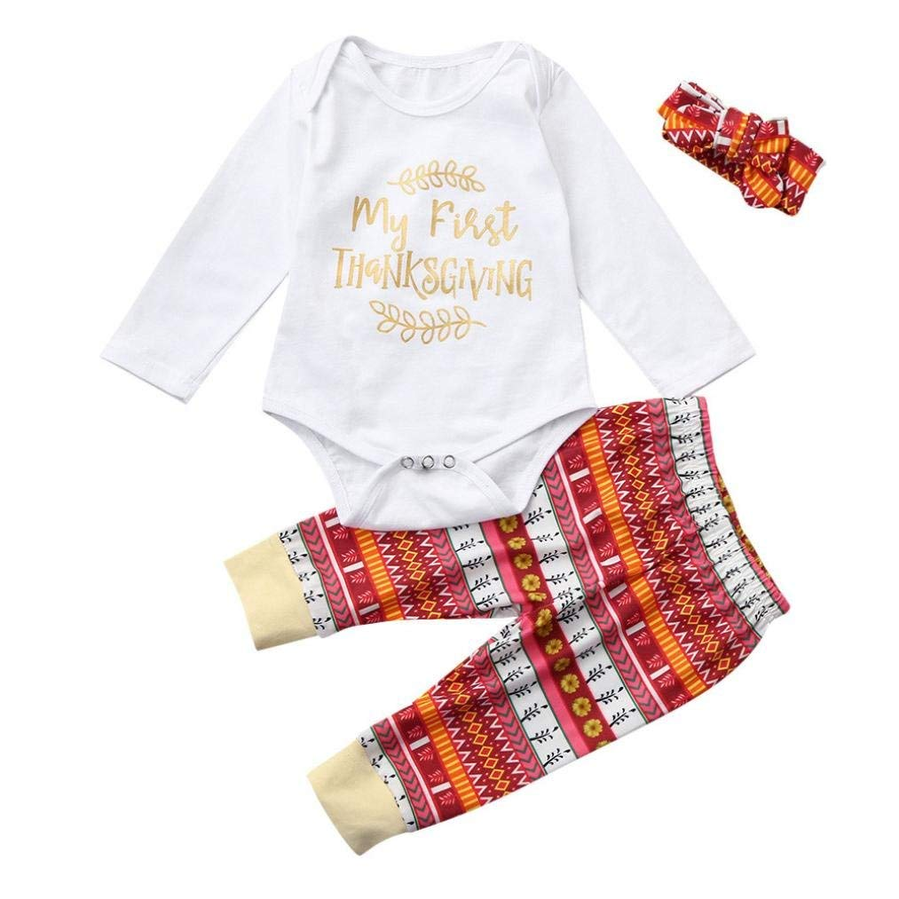0838a08f86d1 Get Quotations · Gallity Newborn Baby Boy Girl my first thanksgiving Romper  Tops+Long Pants Thanksgiving Outfits Set