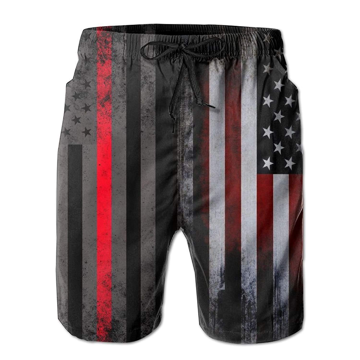 f5a3febadb Get Quotations · Men's Summer Vintage American Thin Red Line Flag  Firefighter Quick Dry Beach Shorts Swim Trunks Board