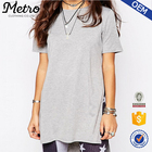 Gray Women Casual Longline Tunic T-Shir OEM Split Jersey T-shirt