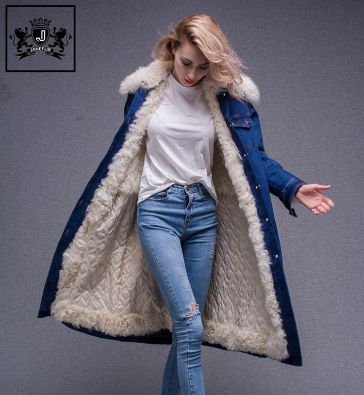 3b9e5df60b Fashion Women Clothing Long Embroidered Parka Womens Coat With Lamb Fur  Collar Embroidery Denim Jacket - Buy Jacket With Lamb Fur Collar