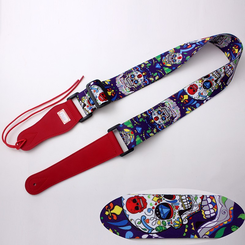 Polyester sublimation printing cartoon guitar straps leather direct sale top quality