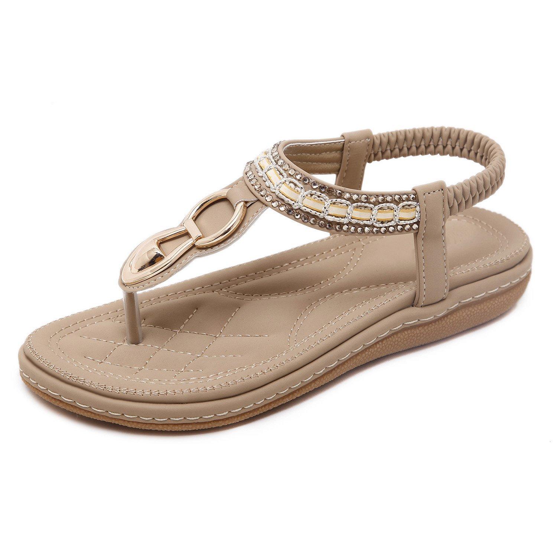 fb159c204 Get Quotations · Flammi Women s Bohemian Rhinestone Summer Flat Sandals  Soft Sole Beach Flip Flops T-Strap Sandals