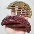 natural carved wood hair wooden pocket comb for craft gift