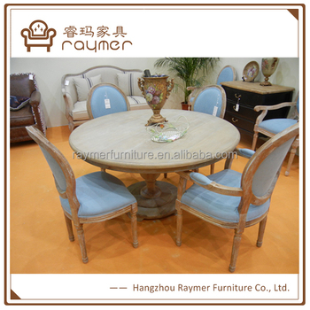 French Style Furniture Round Solid Wood Cafe Dining Table And Chairs