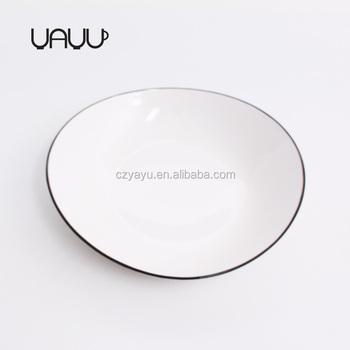 Esty hot sale black line oval shape porcelain deep dinner plates / 10 inch white deep  sc 1 st  Wholesale Alibaba & Esty Hot Sale Black Line Oval Shape Porcelain Deep Dinner Plates ...