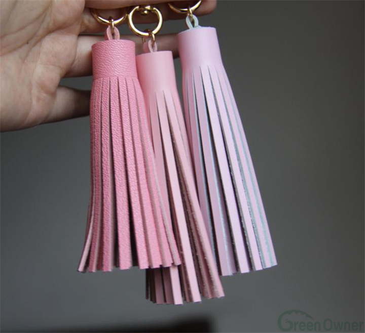 Leather tassel keychain, tassel key fob tassel, purse charm large leather tassel