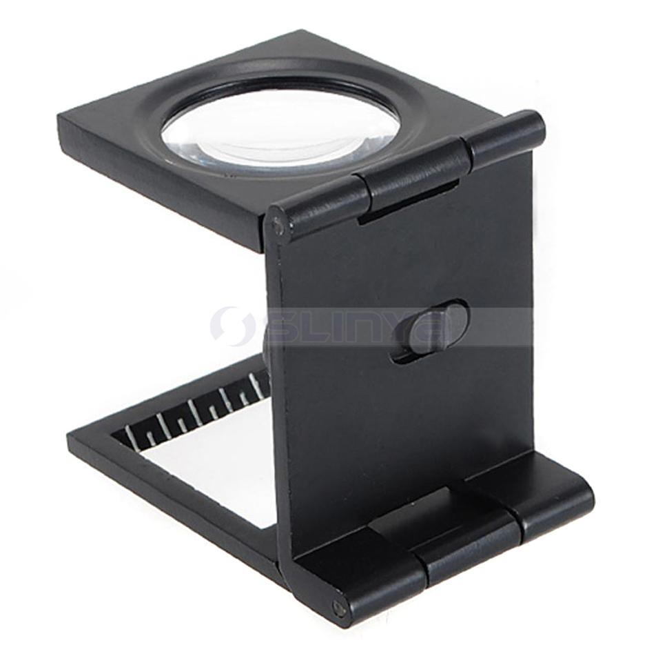 Black 10X 28mm LED Illumination Light Foldable Scale Magnifier