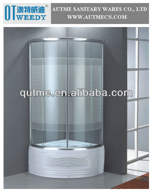 AUTME White Stripes Thwartwise Lines Vertical White Lines Glass Shower Encloure Simple Shower Room Design