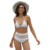 Dear Lover Sexy Latest Hot White Pom Pom Mesh Insert High Waist Swimwear Woman Bikini