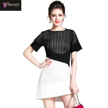 STKKOO Europe & America Women Fashion Round Neck Short Sleeve Crochet Stripes Black Lace Patchwork Irregular A Line Mini Dress