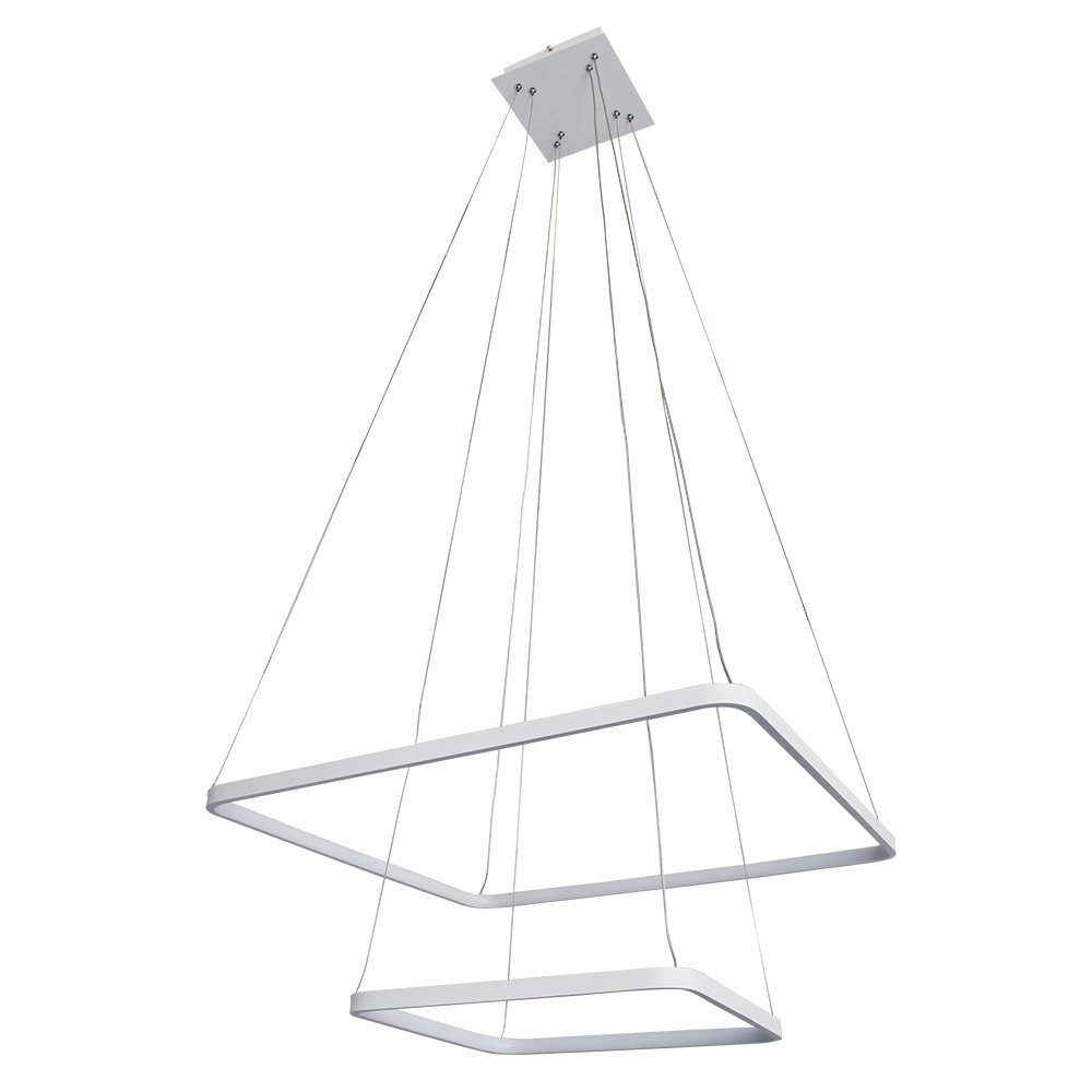Deluxe Lamp Modern Square Two-Tier LED Integrated Chandelier Lighting with Adjustable Hanging Light, Silver, Dining Room, Island, Kitchen