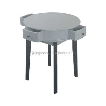 Sweden Shabby Chic Wooden Small Corner Table With 4 Storage Drawers Grey Coffee Black Legs Tables